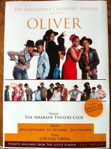 """Poster for our play """"Oliver"""" which was put on at The Theatre Club by The Emantjwele Children's Theatre (The Little School's Drama Club)"""