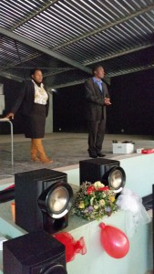 Teachers Simoline and Motsi, delivering sound advice to their, now former students