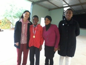 During Assembly at our School presenting the medal to Mphumelelo