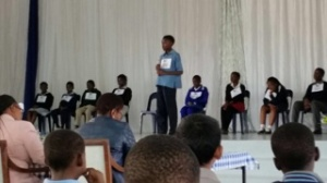 Mphumelelo participating in the Finals at Khanyisile Primary School. Well done!
