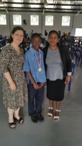 A proud moment for our School. Mphumelelo with Mrs Morais and Teacher Thembie at Khanyisile Primary School
