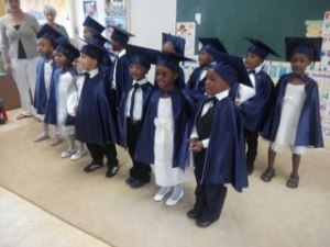 Our graduates in their graduation gowns :)